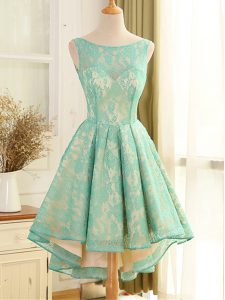 Turquoise A-line Lace and Appliques Graduation Dresses Backless Lace Sleeveless High Low