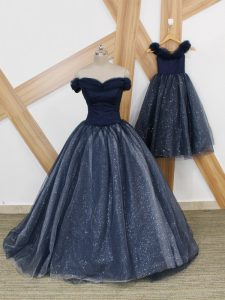 Latest Navy Blue Sleeveless Tulle Brush Train Lace Up Graduation Dresses for Prom and Party and Military Ball