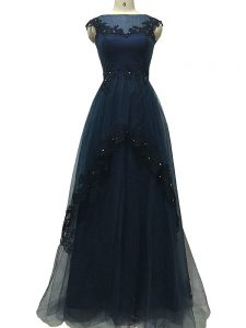 High End Navy Blue Zipper Graduation Dresses Lace and Appliques Sleeveless Floor Length