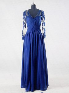 Blue Empire V-neck Long Sleeves Chiffon Floor Length Zipper Lace and Appliques Graduation Dresses