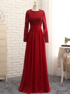 Fashion Wine Red Zipper Scoop Lace and Appliques Graduation Dresses Chiffon Long Sleeves