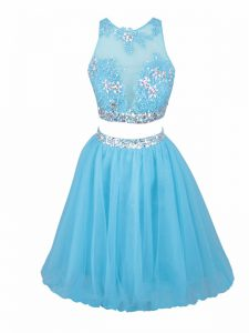 Sleeveless Tulle Mini Length Side Zipper Graduation Dresses in Aqua Blue with Beading