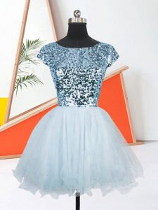 Light Blue A-line Scoop Short Sleeves Organza Mini Length Lace Up Sequins Graduation Dresses