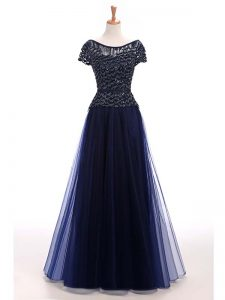 Short Sleeves Tulle Floor Length Lace Up Graduation Dresses in Navy Blue with Beading