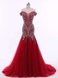 Sleeveless Beading Zipper Graduation Dresses with Red Brush Train