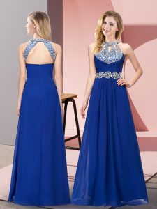 New Arrival Blue Empire Beading and Ruching Graduation Dresses Zipper Chiffon Sleeveless Floor Length