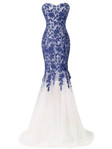 Amazing Sweetheart Sleeveless Graduation Dresses Brush Train Beading and Lace and Appliques Blue And White Tulle