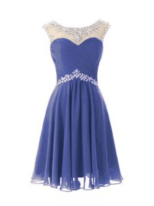 Cap Sleeves Knee Length Beading Zipper Graduation Dresses with Blue