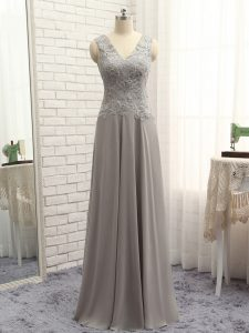 V-neck Sleeveless Graduation Dresses Floor Length Lace and Appliques Grey Chiffon