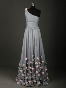 Low Price Sleeveless Backless Floor Length Pleated and Belt and Hand Made Flower Graduation Dresses