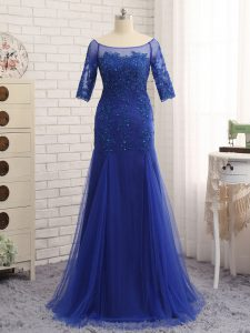 Royal Blue Column/Sheath Scoop Half Sleeves Tulle Zipper Lace and Appliques Graduation Dresses