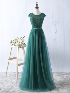 Scoop Sleeveless Tulle Graduation Dresses Beading Zipper