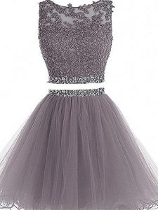 Beading and Lace and Appliques Graduation Dresses Grey Zipper Sleeveless Mini Length