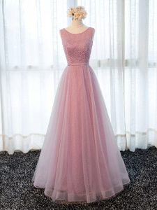 Excellent A-line Graduation Dresses Pink Scoop Tulle Sleeveless Floor Length Zipper