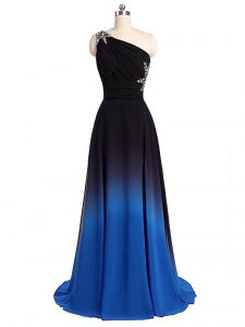 Spectacular Multi-color Empire Chiffon One Shoulder Sleeveless Beading and Ruching Lace Up Graduation Dresses Brush Train