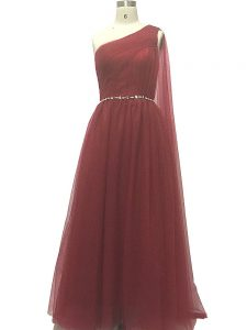 Charming Beading and Pleated Graduation Dresses Burgundy Zipper Sleeveless Sweep Train
