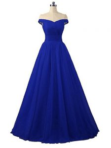 Sweet Floor Length Lace Up Graduation Dresses Royal Blue for Prom and Party with Ruching