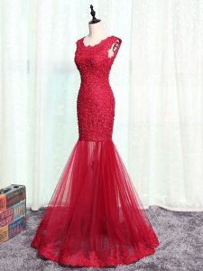 Clearance Floor Length Zipper Graduation Dresses Red for Prom and Military Ball and Beach with Lace and Appliques