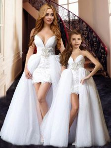Dramatic Sleeveless Tulle Floor Length Lace Up Graduation Dresses in White with Beading and Lace