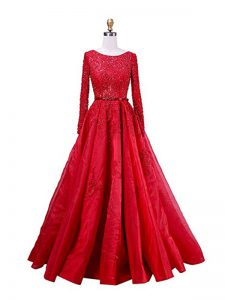Red Graduation Dresses Taffeta Brush Train Long Sleeves Beading and Lace
