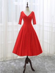 Red Half Sleeves Lace Lace Up Graduation Dresses for Prom and Party and Sweet 16