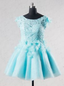 Custom Designed Aqua Blue Short Sleeves Mini Length Lace and Appliques and Hand Made Flower Backless Graduation Dresses