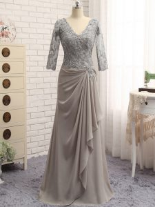Grey Zipper Graduation Dresses Lace and Appliques Long Sleeves Floor Length