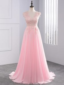 New Style Side Zipper Graduation Dresses Baby Pink for Prom and Party with Lace and Appliques Brush Train