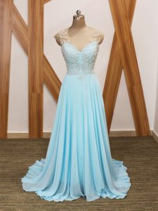 Designer Short Sleeves Chiffon Brush Train Side Zipper Graduation Dresses in Aqua Blue with Beading and Ruching