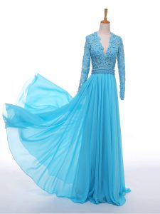 Baby Blue Long Sleeves Chiffon Zipper Graduation Dresses for Prom and Party and Military Ball