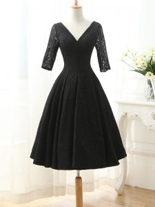 Black Lace Up V-neck Lace and Appliques Graduation Dresses Lace Half Sleeves
