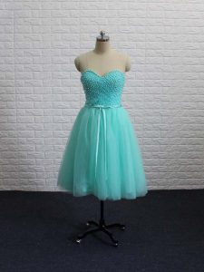 Mini Length Lace Up Graduation Dresses Apple Green for Prom and Party and Sweet 16 with Beading