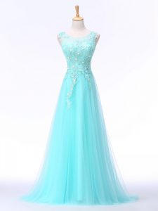 Aqua Blue A-line Scoop Sleeveless Chiffon Brush Train Backless Lace and Appliques Graduation Dresses
