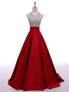 Exquisite Sleeveless Beading Backless Graduation Dresses with Wine Red