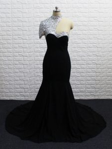Designer Short Sleeves Chiffon Brush Train Zipper Graduation Dresses in Black with Beading