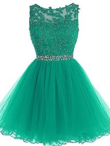 Beauteous Mini Length Green Graduation Dresses Tulle Sleeveless Beading and Lace and Appliques and Belt