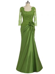 Luxury Olive Green Elastic Woven Satin Zipper Graduation Dresses Long Sleeves Floor Length Lace and Appliques and Hand Made Flower