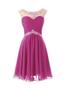Cap Sleeves Beading Zipper Graduation Dresses