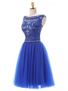 Beautiful Scoop Sleeveless Tulle Graduation Dresses Beading Zipper
