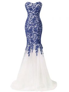 Elegant Sleeveless Tulle Brush Train Lace Up Graduation Dresses in Blue And White with Lace and Appliques