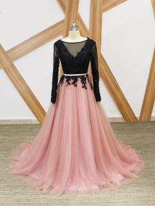 Pink And Black Graduation Dresses Tulle Brush Train Long Sleeves Lace and Appliques and Sashes ribbons