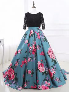 Glittering Multi-color Long Sleeves Lace and Appliques Backless Graduation Dresses