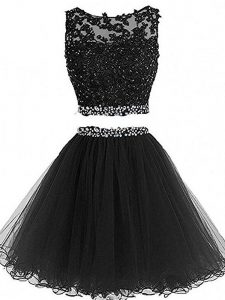 Free and Easy Two Pieces Graduation Dresses Black Scoop Tulle Sleeveless Mini Length Zipper