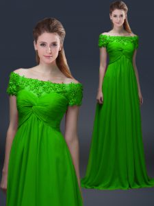 Fashionable Short Sleeves Floor Length Appliques Lace Up Graduation Dresses with