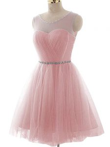 Mini Length Pink Graduation Dresses Scoop Sleeveless Lace Up
