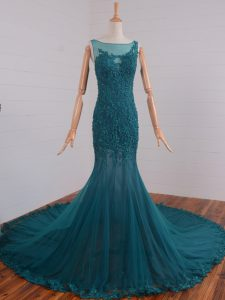 Tulle Scoop Sleeveless Court Train Zipper Beading and Lace and Appliques Graduation Dresses in Teal