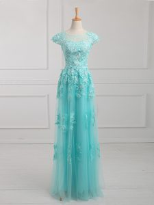 Aqua Blue Lace Up Graduation Dresses Beading and Lace and Appliques Short Sleeves Floor Length