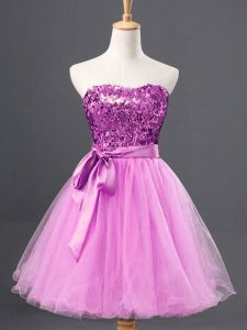 Tulle Sweetheart Sleeveless Zipper Sequins Graduation Dresses in Lilac