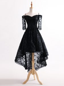 Attractive Black Lace Up Straps Lace Graduation Dresses Tulle Half Sleeves