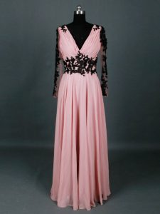 Charming Lace and Appliques Graduation Dresses Pink Zipper Long Sleeves Floor Length